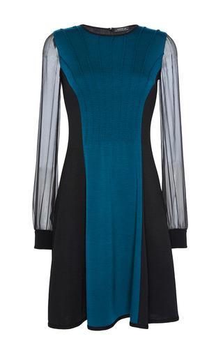 Medium andrew gn black sheer sleeve a line dress
