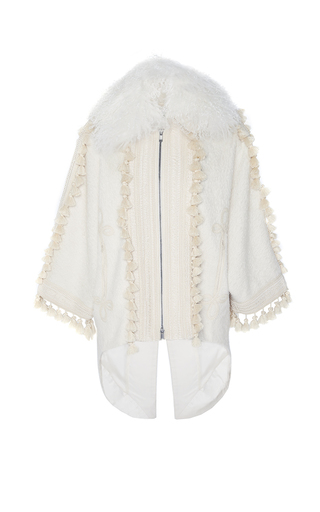 Medium andrew gn white tassel detail coat