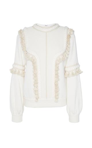 Medium andrew gn white hand braided trim sweater