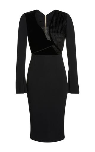 Medium roland mouret black ormond check velvet jacquard dress