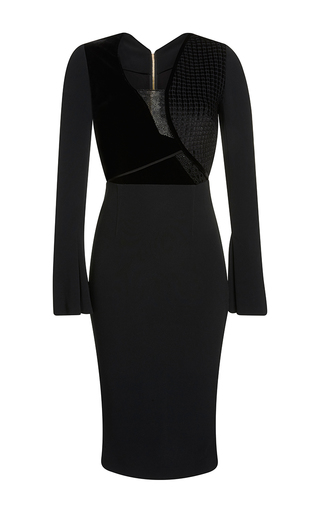 Medium roland mouret black ormond check velvet jacquard dress