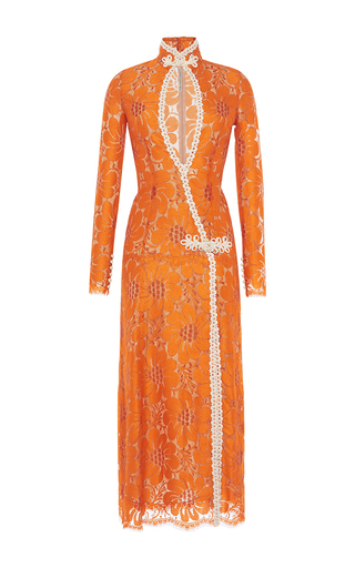 Medium alessandra rich orange flower lace dress