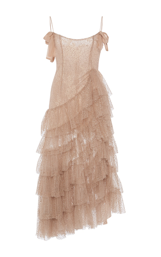 Medium alessandra rich nude ruffle dress