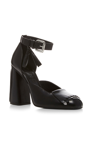 Medium suno black fringe high heel