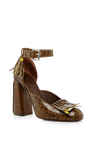 Medium suno brown fringe high heel  3