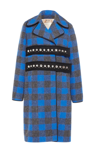 Medium no 21 plaid zorela embellished blue check coat