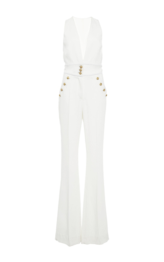 Medium zuhair murad white plunging neckline sleeveless jumpsuit
