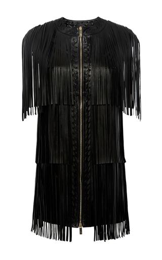 Medium zuhair murad black leather fringe dress