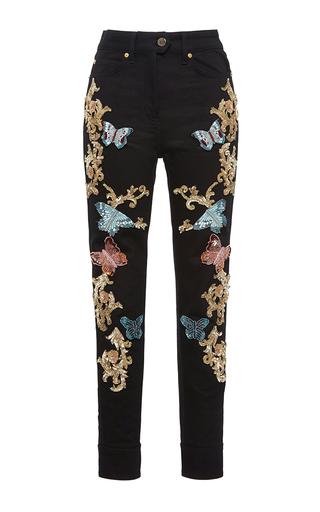 Medium zuhair murad black butterfly high waisted jeans