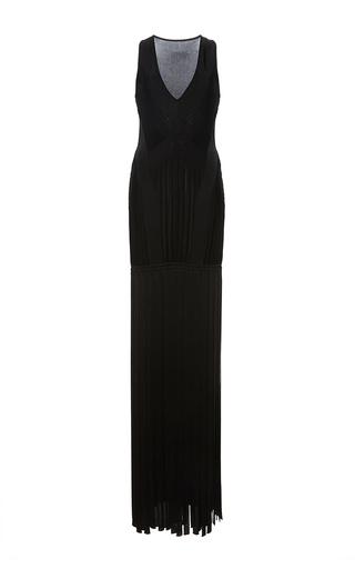 Medium zuhair murad black sleeveless fringe maxi dress