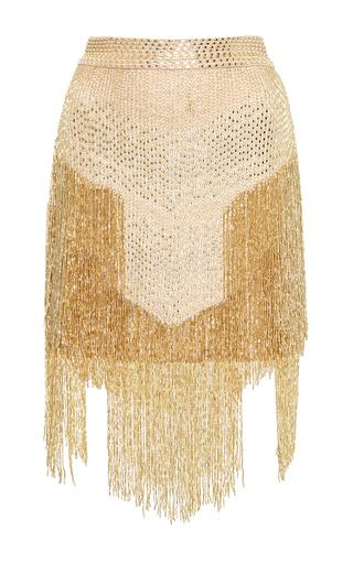 Medium zuhair murad gold beaded fringe mini skirt
