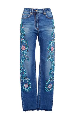 Medium zuhair murad blue embroidered high waisted jeans