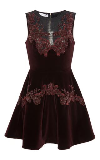 Medium zuhair murad multi sleeveless velour flared mini dress