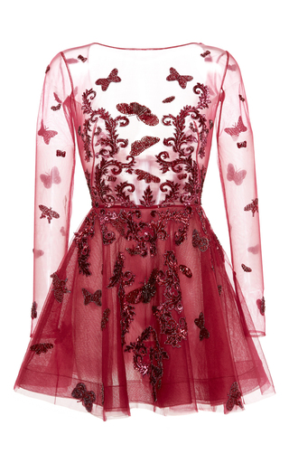 Medium zuhair murad red long sleeve butterfly embroidered dress