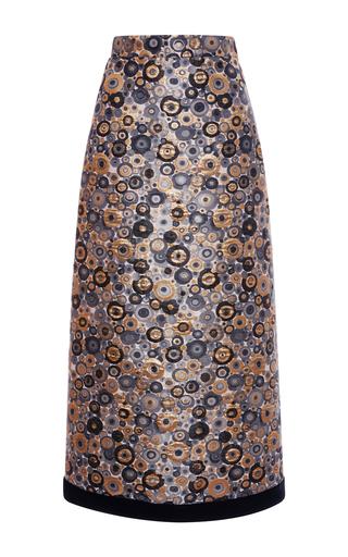 Medium emanuel ungaro print metallic jacquard pencil skirt