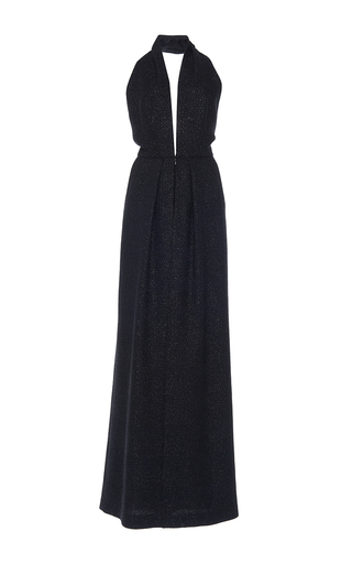 Medium martin grant black deep v neck lurex jumpsuit