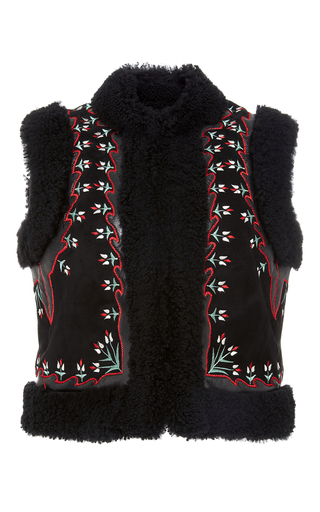 Medium vilshenko black mindy shearling waist coat