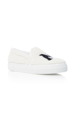 Medium joshua sanders white new york fur sneakers