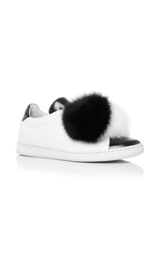 Medium joshua sanders black white fur pom pom sneakers