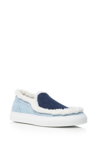 Denim And Fur Slip On Sneakers by JOSHUA SANDERS Now Available on Moda Operandi