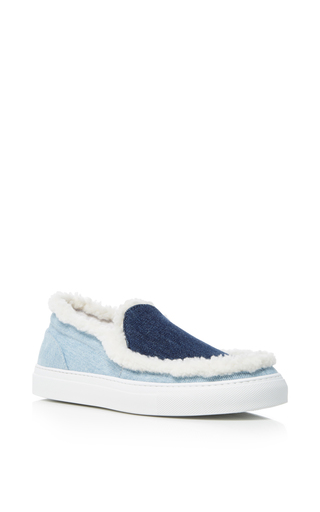 Medium joshua sanders blue denim and fur slip on sneakers