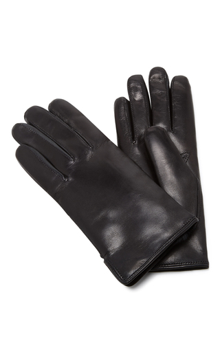 Medium maison fabre black black leather and rabbit fur gloves