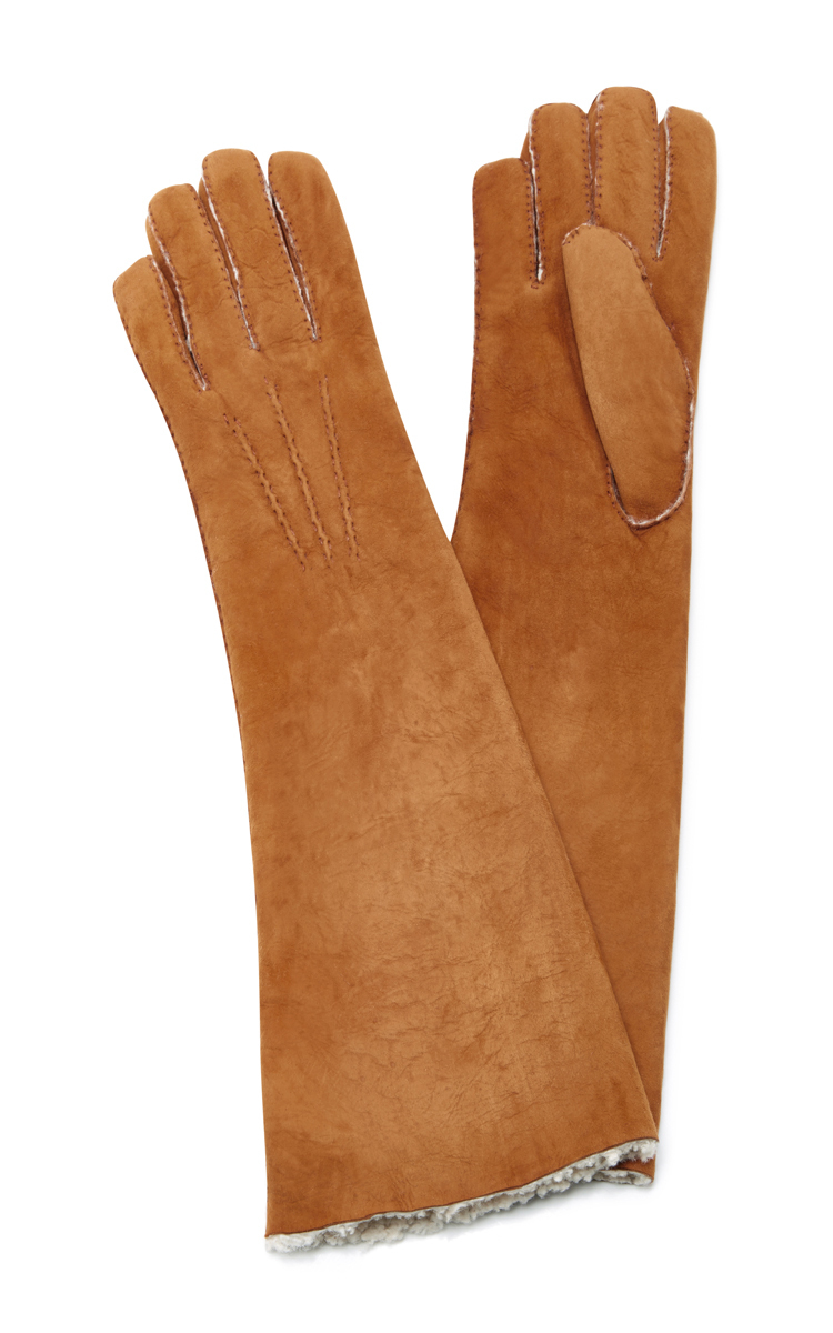 MAISON FABRE Suede And Shearling Long Gloves in Brown
