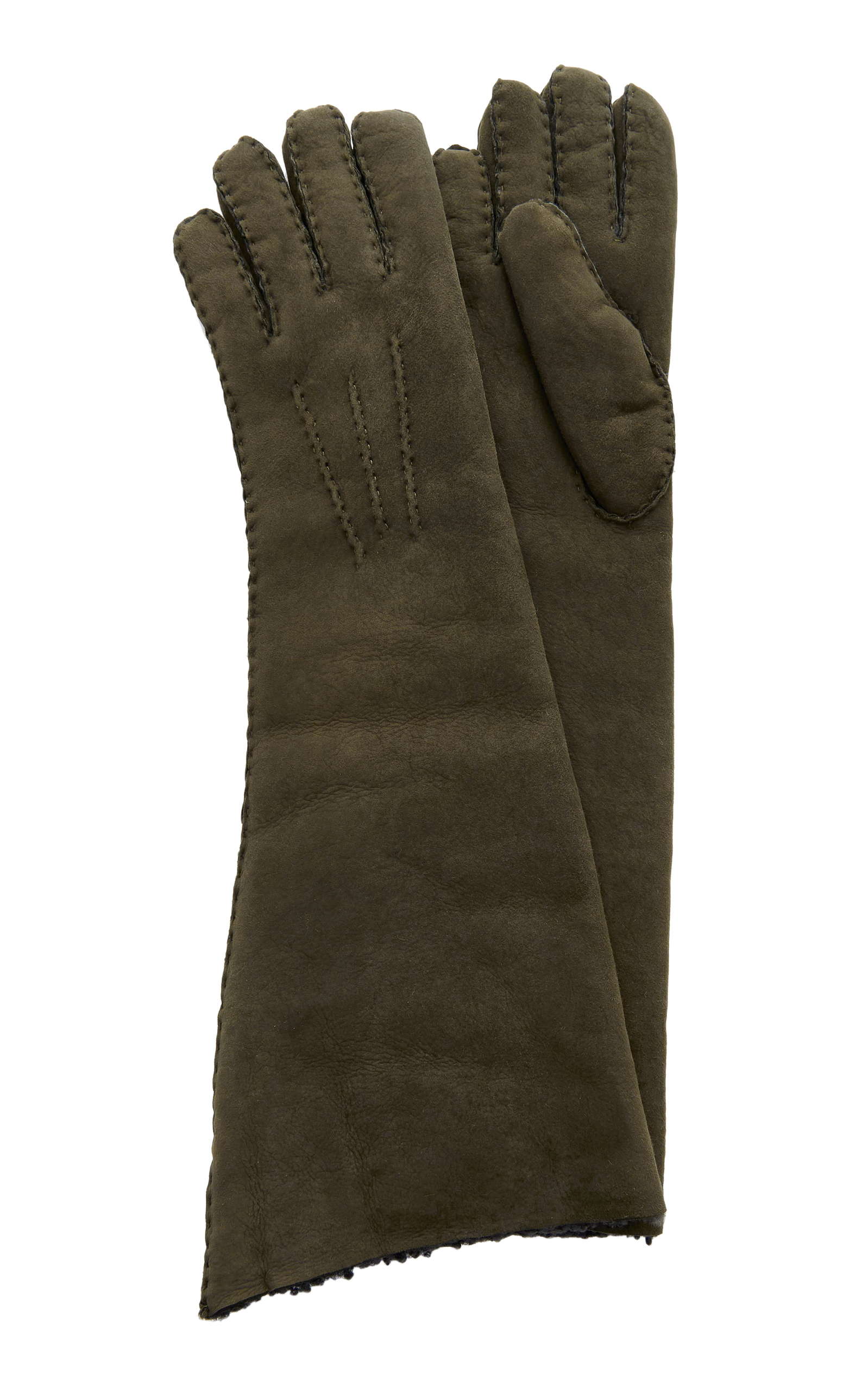 MAISON FABRE Suede And Shearling Long Gloves in Dark+Green