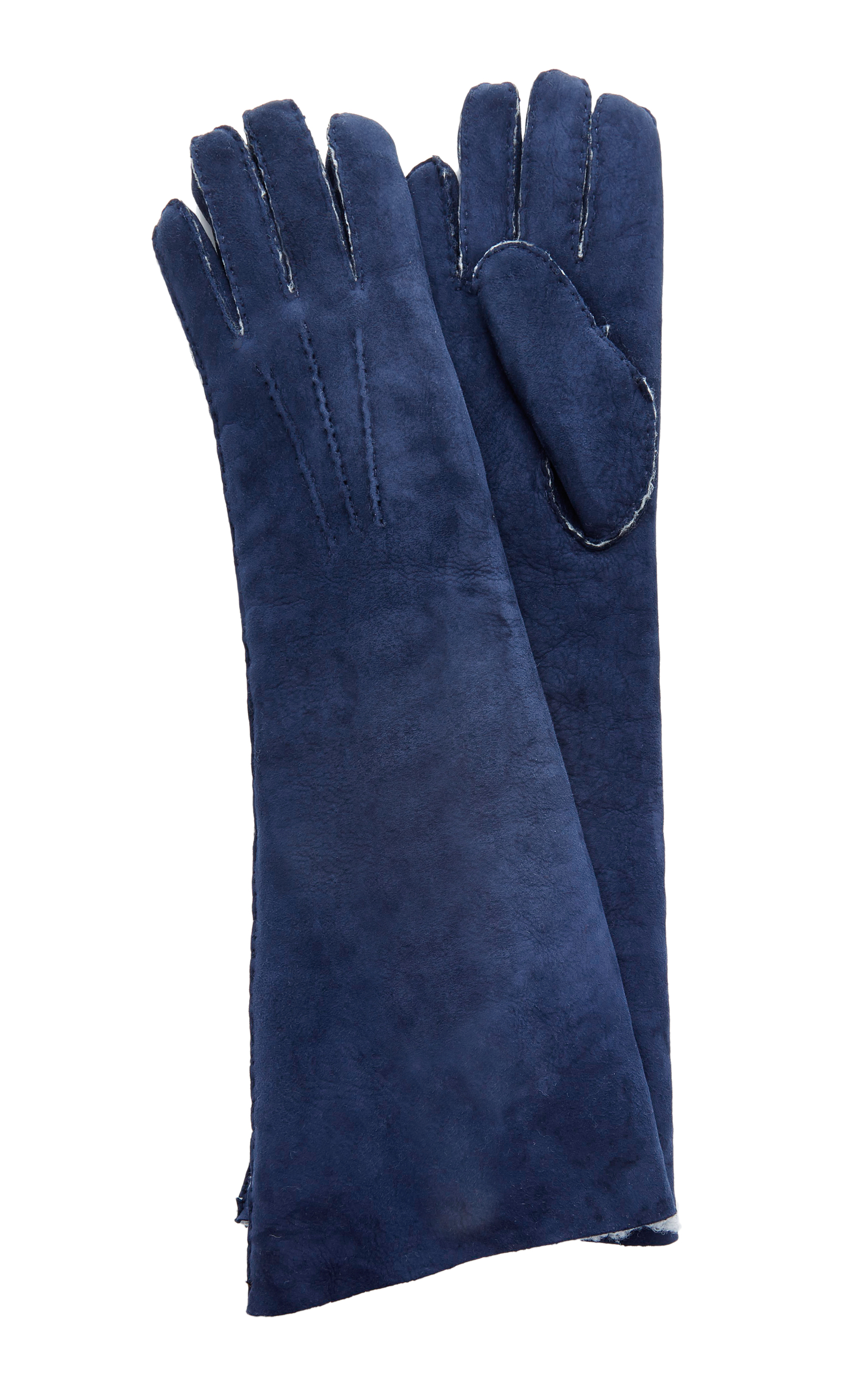 MAISON FABRE Suede And Shearling Long Gloves in Navy