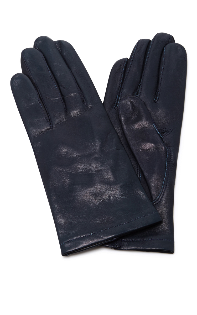 NAVY FLOODS LEATHER GLOVES