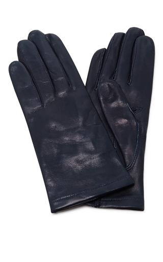 Medium maison fabre navy navy floods leather gloves