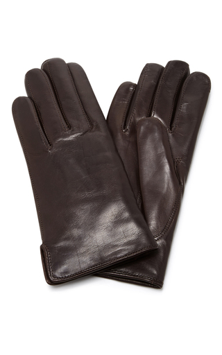 Medium maison fabre brown brown leather and rabbit fur gloves