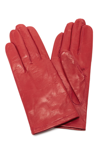 Medium maison fabre red red floods leather gloves