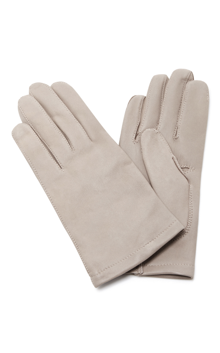 MAISON FABRE GREY FLOODS LEATHER GLOVES