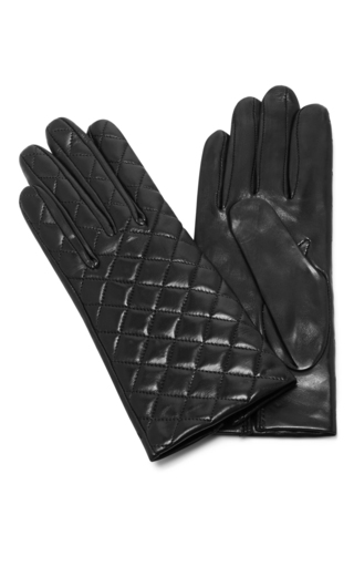 Medium maison fabre black quilted leather gloves