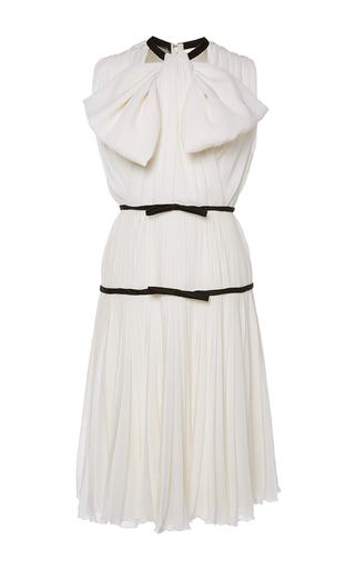 Medium giambattista valli white tie front tiered pleat dress