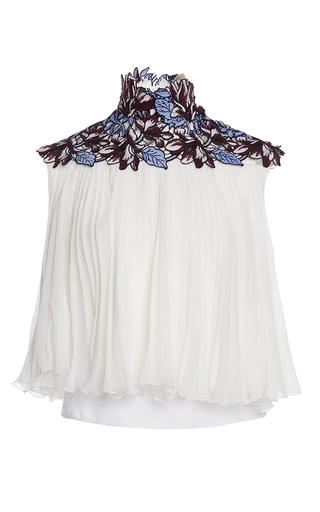 Medium giambattista valli white floral yoke pleat blouse