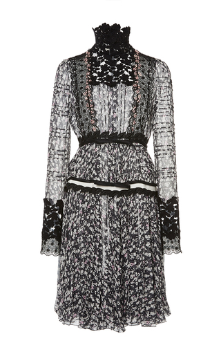 Medium giambattista valli black white floral lace panel dress