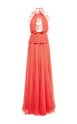 Medium giambattista valli orange pleated ruffle cutout gown
