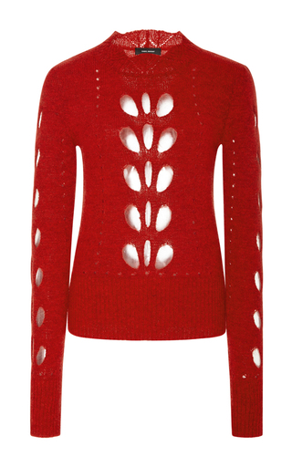 Medium isabel marant red ilia cutout shoulder top