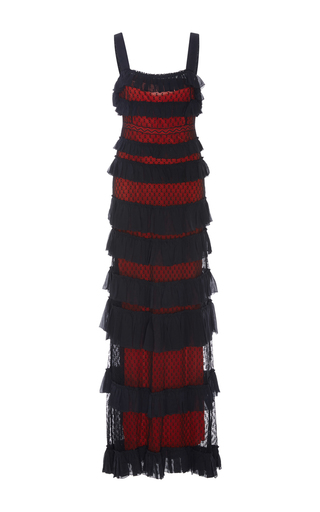 Medium isabel marant black tuline tiered maxi dress