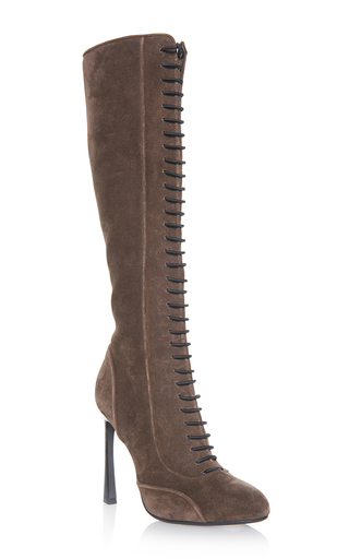 Medium giambattista valli brown lace up tall boots
