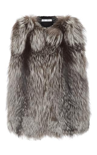 Medium oscar de la renta light grey silver fox vest with mink back