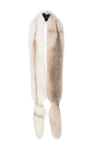 Medium oscar de la renta light grey fox fur long stole