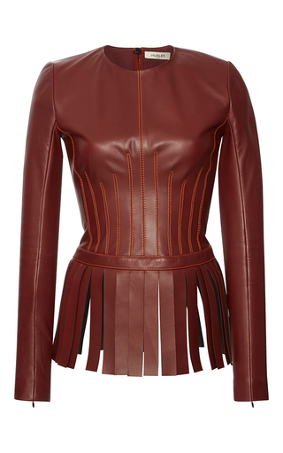 Medium mugler burgundy soft nappa fringe peplum top