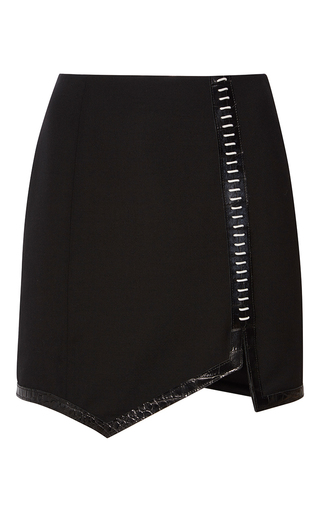 Medium mugler black embossed wool asymmetrical mini skirt