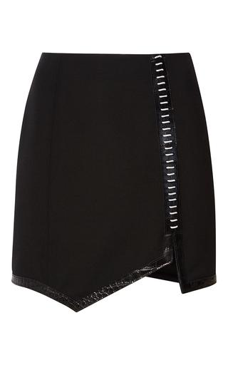 Medium mugler black embossed wool asymmetrical mini skirt