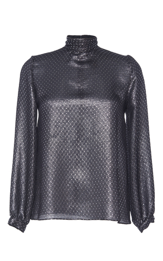 Medium vanessa seward metallic high neck lame blouse