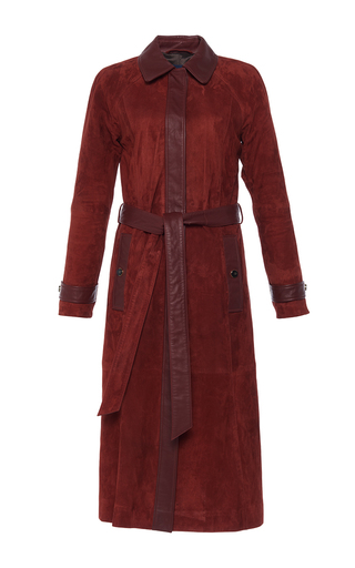 Medium vanessa seward red cinnamon suede coat