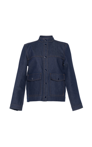Medium vanessa seward dark wash cassie raw denim jacket